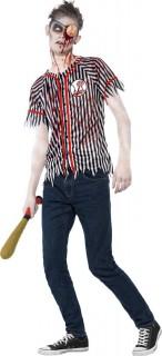 Baseballspielender Sportler-Zombie Halloween Kostüm für Herren schwarz-weiss-braun