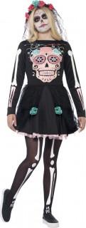 Sugar Skull Skelett-Mädchen Halloween Teen-Kostüm schwarz-bunt