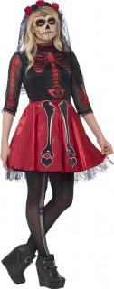 Tag der Toten Skelett-Mädchen Halloween Teen-Kostüm rot-schwarz