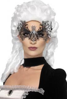 Venezianische Augenmaske Spinnennetz mit Schmucksteinen schwarz-silber