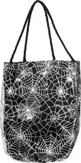 Tasche mit Spinnennetzenaufdruck Halloween Kostümzubehör schwarz-weiss  25 cm x 17 cm
