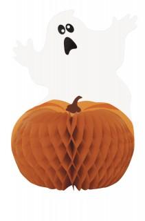 Halloween-Wabendeko Kürbis und Geist orange-weiss-schwarz 28cm