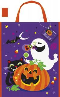 Süßes oder Saures Beute Kürbis Geist und Katze Halloween-Tasche lila-bunt 38x30cm