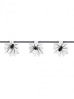 Spinnennetz-Girlande Halloween-Deko schwarz-weiss 2,13m