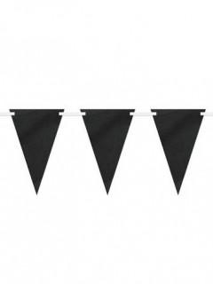 Wimpel-Girlande zum Beschriften Partydeko schwarz-weiss