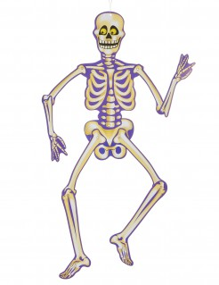 Skelett-Deko Halloween Wanddeko beige-lila 89cm