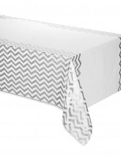 Kunststofftischdecke mit Muster weiss-silber 137x274cm