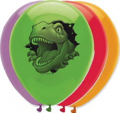 Dinosaurier-Luftballons 6 Stück bunt 30cm