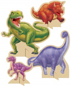 Dinosaurier-Pappaufsteller Partydeko 4-teilig bunt