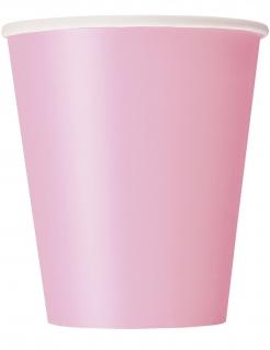 Mädchenhafte Pappbecher Partyzubehör 14 Stück rosa 266 ml