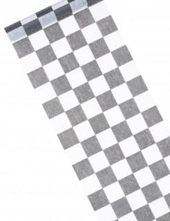 Tischläufer mit Karomuster schwarz-weiss 5m x 27cm