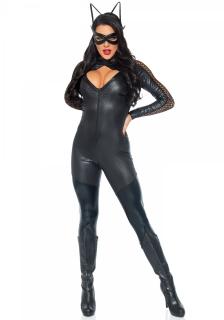 Verruchte Katze Damenkostüm Catsuit schwarz