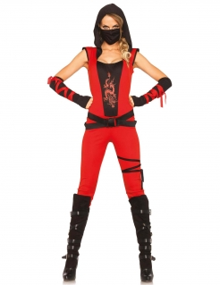 Sexy Ninja Kriegerin Damenkostüm Asien rot-schwarz