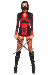 Heisse Ninja-Kriegerin Damenkostüm Asien schwarz-rot
