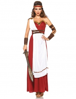 Römische Kriegerin Toga-Kleid Damenkostüm rot-weiss-braun