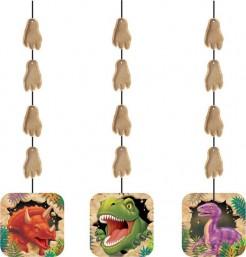 Dinosaurier Hänge-Dekorationen Kindergeburtstag 3 Stück