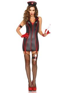 Sexy Krankenschwester-Damenkostüm Berufskostüm schwarz-rot