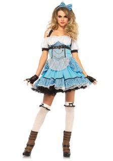 Steampunk Alice Märchen Damenkostüm blau-weiss-schwarz
