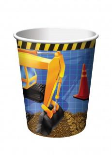 Baustellen-Becher Bagger-Motiv 8 Stück bunt 256ml
