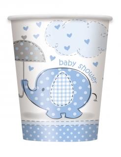 8 Pappbecher mit einem kleinen blauen Elefanten 25cl