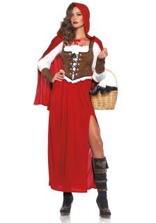 Edles Waldmädchen Damenkostüm Märchen rot-weiss