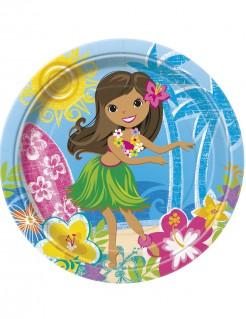 Hawaii-Partyteller Hula-Tänzerin Tischdeko 8 Stück bunt 23cm