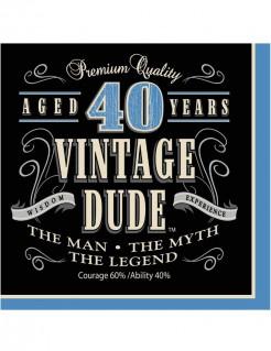 40. Geburtstag Servietten 16 Stück blau-schwarz-beige 16,5 x 16,5cm