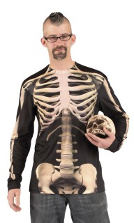 Skelett Shirt Halloween schwarz-beige