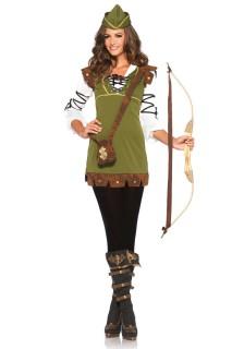 Süsse Mittelalter Bogenschützin Damenkostüm grün-braun