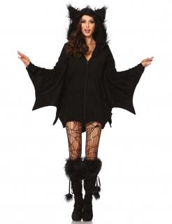 Süsse Fledermaus Halloween-Damenkostüm schwarz