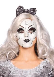 Porzellan-Puppe Vollmaske Gesichtsmaske weiss-schwarz