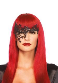 Venezianische Halb-Augenmaske Stickereien schwarz