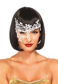 Venezianische Halb-Augenmaske Stickereien weiss