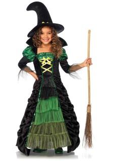 Märchen-Hexe Halloween-Kinderkostüm schwarz-grün