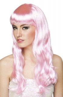 Lange Damenperücke gewellt rosa