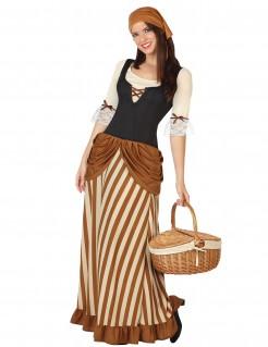 Mittelalterliche Bäuerin Damenkostüm Mittelalter braun-beige