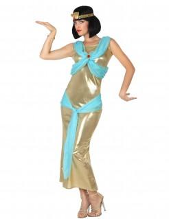 Ägyptische Herrscherin Damenkostüm gold-blau