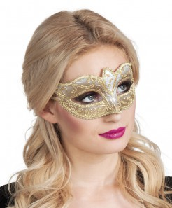 Venezianische Maske weiss-gold