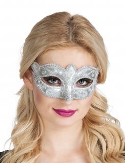 Venezianische Maske mit Ornamenten silber