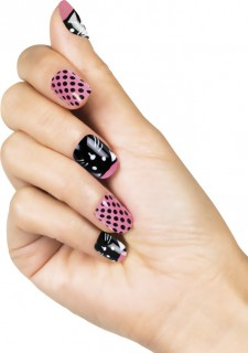 Kuenstliche Fingernaegel Katzen-Motiv rosa-schwarz