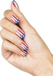 USA-Fingernägel Amerika-Fanartikel 24 Stück rot-weiss-blau
