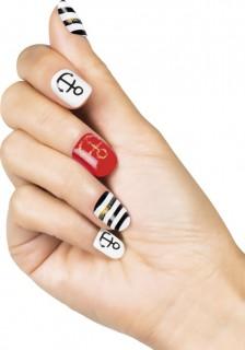 Matrosen-Fingernägel Künstliche Fingernägel weiss-rot-schwarz