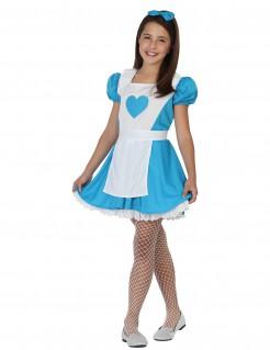 Alice im Wunderland Kinderkostüm für Mädchen blau-weiss