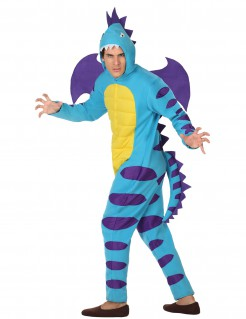 Drachen-Männerkostüm Ungeheuer blau-lila