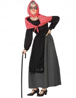 Alte Dame Karneval-Damenkostüm schwarz