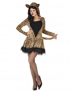 Süsse Leopardin Damenkostüm Raubkatze beige-schwarz