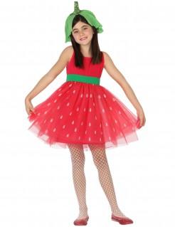 Erdbeer-Kostüm für Mädchen - rot-weiß-grün