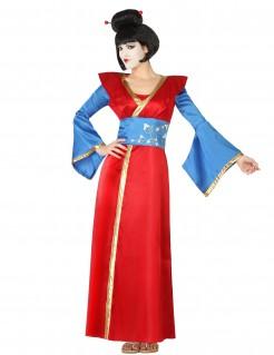 Damenkostüm einer Geisha in Blau Rot Gold und Weiß