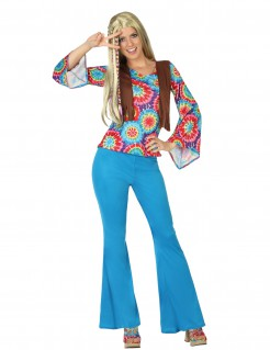 Hippie Damenkostüm 60er Jahre Plus Size hellblau-bunt