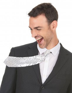 Glitzer-Krawatte mit Pailletten unisex weiss-silber